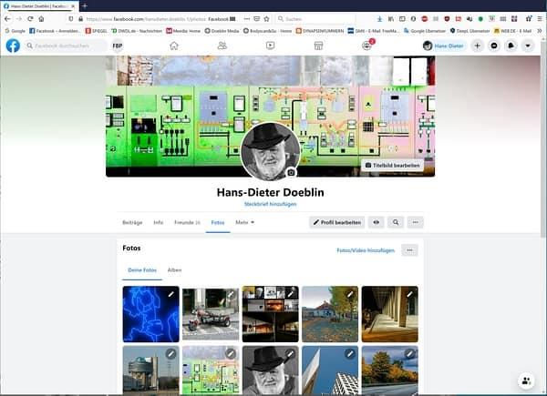 Screenshot Facebook Profil im Bereich Foto