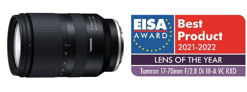 Produktbild Tamron 17-70mm F/2.8 Di III-A VC RXD (Modell B070) plus Logo EISA-Auszeichnung