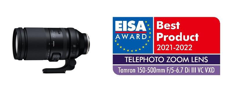 Produktbild Tamron 150-500mm F/5-6.7 Di III VC VXD (Modell A057) plus Logo EISA-Auszeichnung