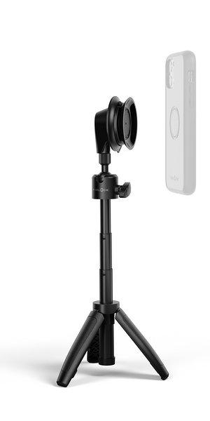 FIDLCOK - VACUUM mini tripod base - aufgeklappt+phonecase+iphone_schwebend