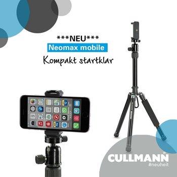 Produktbild: NEOMAX mobile Stativ mit Smartphonehalterung im Vordergrund, Logo und Schriftzug Cullmann und Neomax mobile